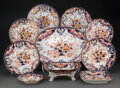 Ceramics & Porcelain, A Sixty-Seven-Piece Derby Kings Pattern Porcelain Partial Dinner Service, circa 1820. Marks: (crown-crossed bato... (Total: 67 Items)