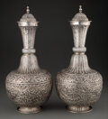 Silver & Vertu, A Pair of Iranian Silver Carafes, mid-20th century. 18-1/4 x 7-3/4 inches (46.4 x 19.7 cm) (each). Marks: 900. 128.52 tr... (Total: 2 Items)