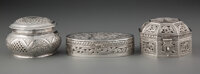 A Group of Three Silver Silver Boxes,, possibly Persian, mid-20th century Marks: 900 1-3/8 x 5-3/8 x 3-1/2 inches (3.5...