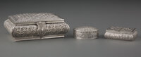 A Group of Three Silver Boxes, possibly Iranian, mid-20th century Marks: (various) 2-1/2 x 4-7/8 x 3-3/4 inches (6.4 x 1...