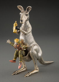 A Tiffany & Co. Enameled Silver Circus Clown and Kangaroo Figure Designed by Gene Moore in Original Box, New York, c...