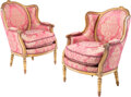 Furniture, A Pair of French Louis XVI-Style Carved Gilt Wood and Upholstered Armchairs. 39-1/2 x 26 x 29 inches (100.3 x 66.0 x 73.7 cm... (Total: 2 Items)