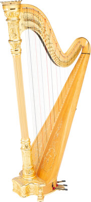 A Lyon & Healy Style No. Seventeen Natural Concertina Harp with Music Stand and Stool