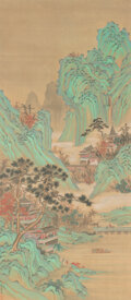 Paintings, After Yao Wenhan (Chinese, 18th Century). Mountain Landscape. Hanging scroll, ink and color on silk. 37-3/4 x 16-1/2 inc...