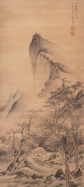 Works on Paper, Zhao Wendu (Chinese, 1570-1633). Landscape. Ink on silk. 33-1/2 x 15-1/4 inches (85.1 x 38.7 cm) (work). 65 x 20 inches ...