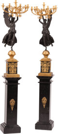 Decorative Accessories, A Pair of Monumental Neoclassical-Style Partial Gilt Bronze Seven-Light Candelabra Presented on Marble Pedestals. 53 x 19 x ... (Total: 4 Items)