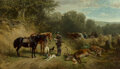 Paintings, Ludwig Voltz (German, 1825-1911). After the hunt, circa 1870. Oil on panel. 15-1/4 x 26 inches (38.7 x 66.0 cm). Signed,...