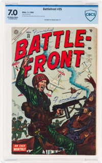 Battlefront #25 Double Cover (Atlas, 1954) CBCS FN/VF 7.0 Off-white to white pages