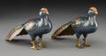 Ceramics & Porcelain, A Pair of Chinese Cloisonné and Gilt Bronze Birds, Qing Dynasty, 18th-19th century . 5-1/2 x 8-1/4 inches (14.0 x 21.0 cm) (... (Total: 2 Items)