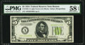 Fr. 1955-A $5 1934 Light Green Seal Federal Reserve Note. PMG Choice About Unc 58 EPQ