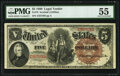 Large Size:Legal Tender Notes, Fr. 70 $5 1880 Legal Tender PMG About Uncirculated 55.. ...