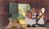 """Lady and the Tramp""""Bella Notte"""" Production Cel and Master Background VIP Setup (Walt Disney, 1955)"""