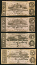 Confederate Notes:1862 Issues, T52 $10 1862 Two Examples Fine or Better;. T53 $5 1862 Two Examples Fine or Better.. ... (Total: 4 notes)