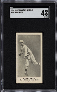 1916 M101-4 Sporting News Babe Ruth #151 SGC VG/EX 4 - New To The Hobby!