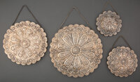 A Set of Four Turkish Silver Mirrors, mid-20th century Marks: BEDO, 900 10-1/4 inches (26.0 cm) (largest) 74.6 ounces...