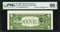 Inverted Third Printing on Back Error Fr. 1913-L 1985 $1 Federal Reserve Note PMG Gem Uncirculated 66 EPQ
