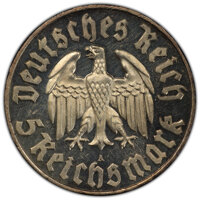 """Germany: Third Reich Proof """"Martin Luther"""" 5 Mark 1933-A Proof PR63 Cameo PCGS"""