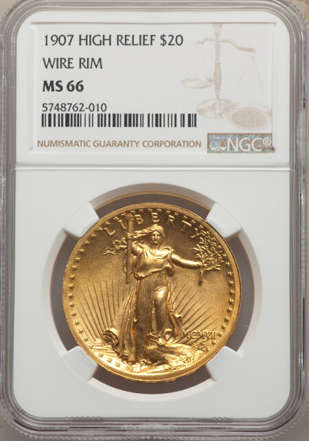 1907 $20 High Relief, Wire Rim 66 NGC