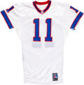 Football Collectibles:Uniforms, 2002 Drew Bledsoe Game Worn & Signed Buffalo Bills Jersey with Equipment Manager Provenance....