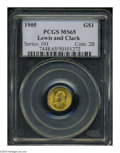 Commemorative Gold: , 1905 G$1 Lewis and Clark MS65 PCGS. Both sides of this ...