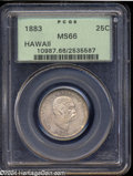 Coins of Hawaii: , 1883 25C Hawaii Quarter MS66 PCGS. Both sides of this ...