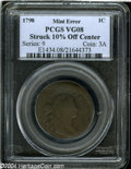 Errors: , 1798 Draped Bust cent 1C --Struck 10% Off Center--Second ...