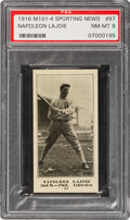 Baseball Cards:Singles (Pre-1930), 1916 M101-4 Sporting News Napoleon Lajoie #97 PSA NM-MT 8 - Pop Two, None Higher. ...