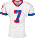 Football Collectibles:Uniforms, 1998 Doug Flutie Game Worn & Signed Buffalo Bills Jersey & PANTS with Equipment Manager Provenance - Photomatched to 11/8 vs t...