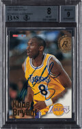 Autographs:Sports Cards, Signed 1996 Hoops Kobe Bryant #281 BGS NM-MT 8, BAS Auto 9....