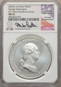 """(10)(2018) Medal George Washington """"1789"""" Silver Matte Finish, Mike Castle Signature, MS70 NGC. NGC Census: (0..."""