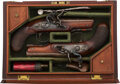 Handguns:Target / Single Shot Pistol, Cased Pair of English S. Brunn Flintlock Pistols.. ... (Total: 2 Items)