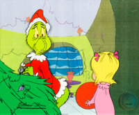 Dr. Seuss' How the Grinch Stole Christmas Grinch and Cindy Lou Production Cel Signed by Chuck Jones (MGM, 1966)