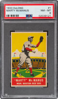 Baseball Cards:Singles (1930-1939), 1933 Delong Marty McManus #1 PSA NM-MT 8 - Only One Higher. ...