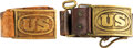 """Military & Patriotic:Indian Wars, Pair of """"US"""" Waist Belt Plates with Original Leather Belts.. ... (Total: 2 Items)"""