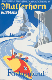 """Matterhorn Bobsleds"" Disneyland Park Attraction Poster (Walt Disney, 1959)"