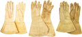 Military & Patriotic:Indian Wars, Hide Gauntlets in Three Sizes.. ... (Total: 3 Items)