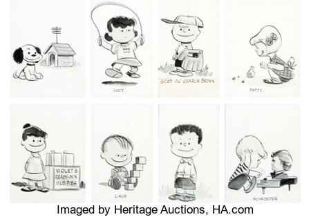Peanuts Early Character Illustrations by Charles Schulz (1953/1954)....