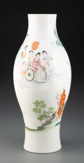 Ceramics & Porcelain, A Chinese Enamel Porcelain Ovoid Vase, 19th century. Marks: Six-character Qianlong mark in red. 15-1/2 x 5-1/2 inches (39.4 ...