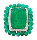Estate Jewelry:Rings, Carved Emerald, Emerald, Diamond, White Gold Ring. ...