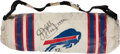 Football Collectibles:Others, 1990-91 Jim Kelly Game Worn & Signed Buffalo Bills Handwarmer with Equipment Manager Provenance....