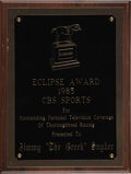 """Football Collectibles:Others, 1985 Eclipse Award Presented to Jimmy the Greek from the Jimmy """"The Greek"""" Snyder"""" Collection...."""