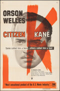 "Movie Posters:Drama, Citizen Kane (RKO, R-1956). Folded, Very Fine-. One Sheet (27"" X 41""). Drama.. ..."