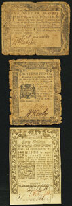Colonial Notes:Maryland, Maryland December 7, 1775 $1 Very Good;. Pennsylvania April 25, 1776 18d Very Good;. Rhode Island May 1786 40s Remaind... (Total: 3 notes)
