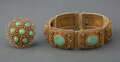 Jewelry, A Chinese Filigree Gilt Silver and Jadeite Inlaid Bracelet and Brooch. Marks to : SILVER, A, CHINA. 9 inches (22.9 cm) (... (Total: 2 Items)