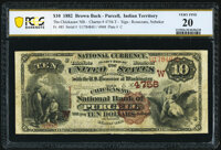 Purcell, IT - $10 1882 Brown Back Fr. 485 The Chickasaw National Bank Ch. # (W)4756 PCGS Banknote Very