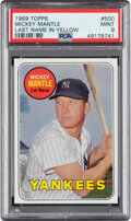 Baseball Cards:Singles (1960-1969), 1969 Topps Mickey Mantle (Yellow) #500 PSA Mint 9 - Only Two Higher....