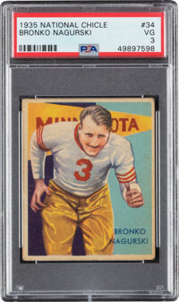 1935 National Chicle Bronko Nagurski #34 PSA VG 3