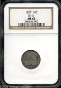 Bust Dimes: , 1827 MS63 NGC. ...
