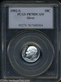 Proof Roosevelt Dimes: , 1992-S Silver PR 70 Deep Cameo PCGS. ...