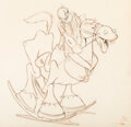 Animation Art:Production Drawing, Her Honor the Mare Popeye Animation Drawing (Famous Studios, 1943). ...